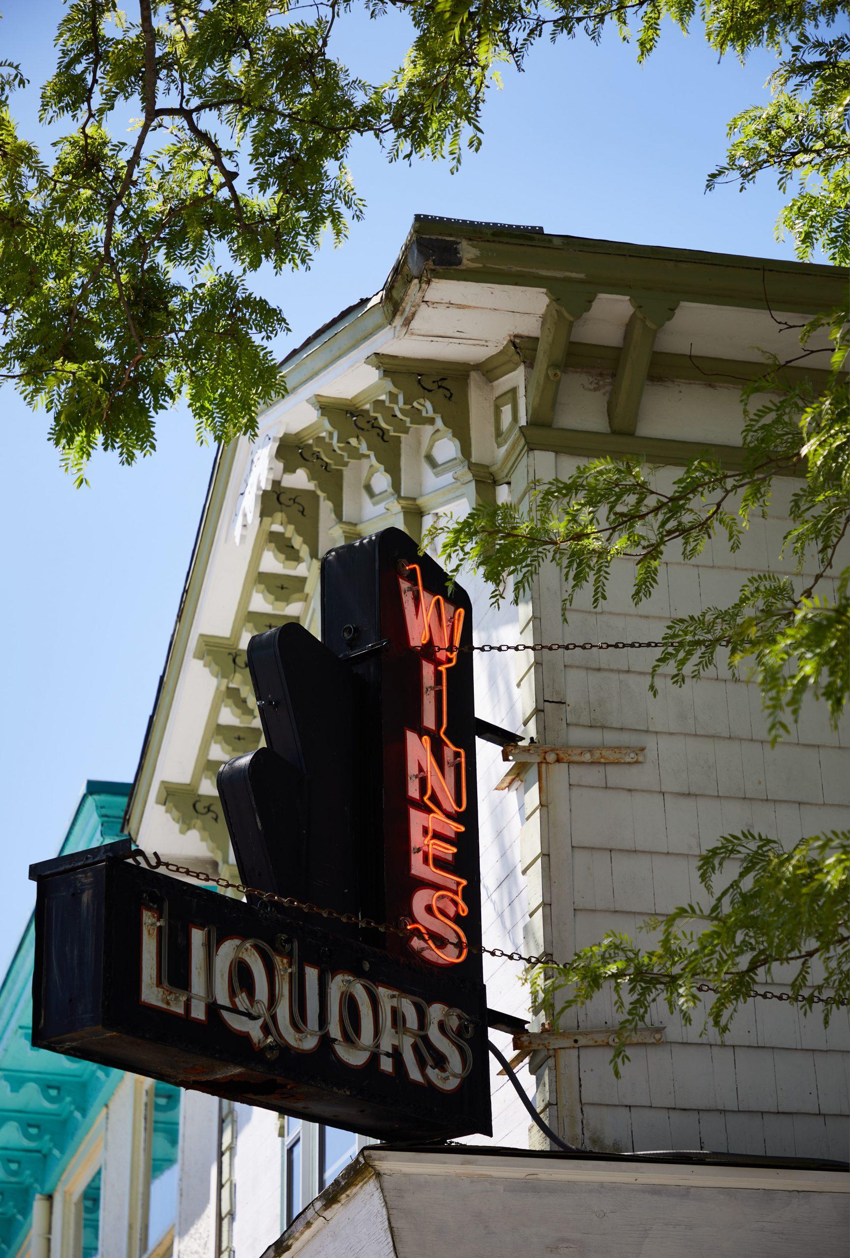 Wines Liquors building sign